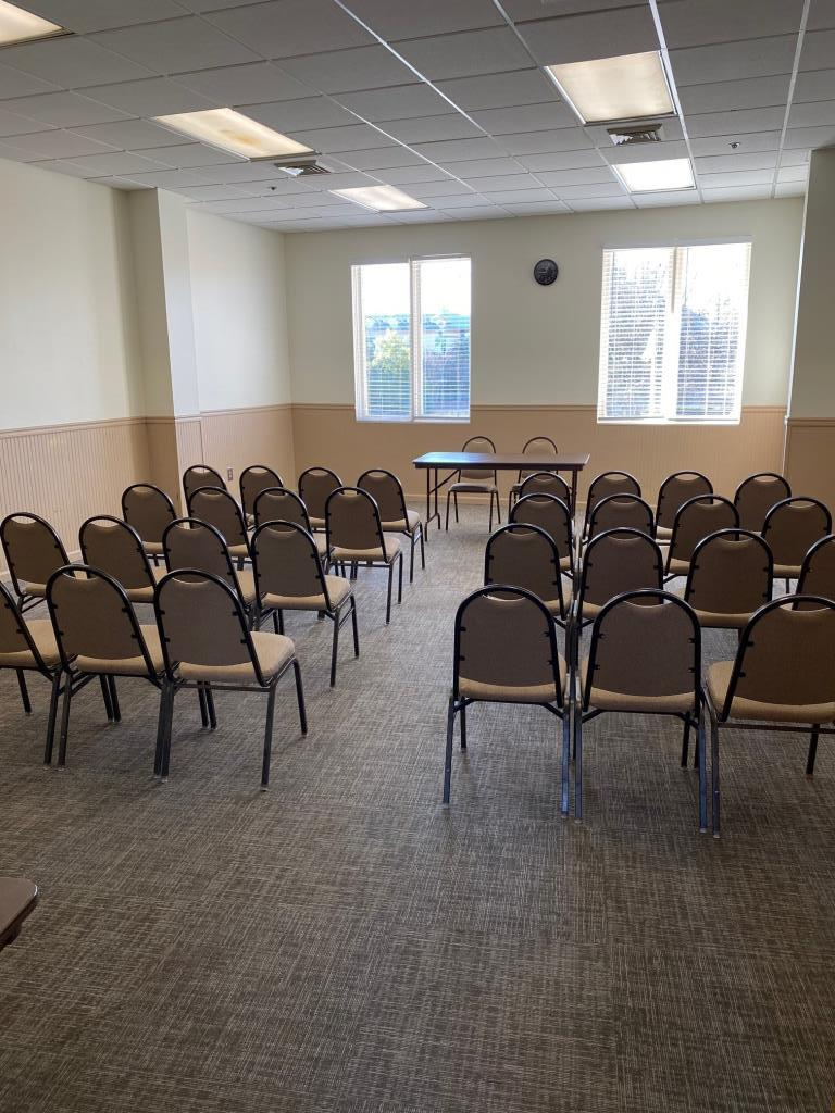 These smaller upstairs rooms can be arranged with 5' tables and padded chairs to meet your setup needs.