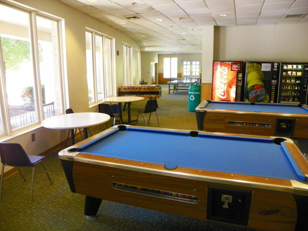 Open during regular Community Center hours. For a small refundable deposit, you may request ping pong paddles, pool cues for billiards, or foosballs at the Front Desk.