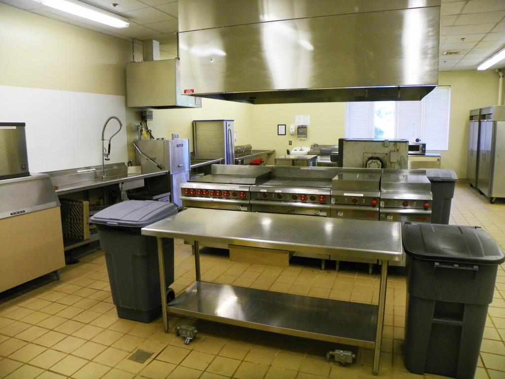 The fully-equipped commercial kitchen may be rented with either the Banquet Hall or Community Room.