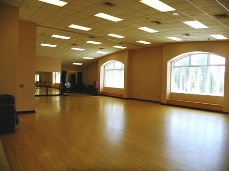 Aerobics and other fitness classes are commonly offered in this room.