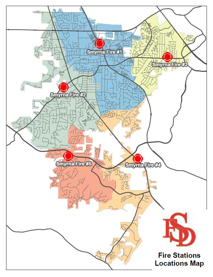 Map Of Georgia Fire.Fire Response Zones City Of Smyrna Ga