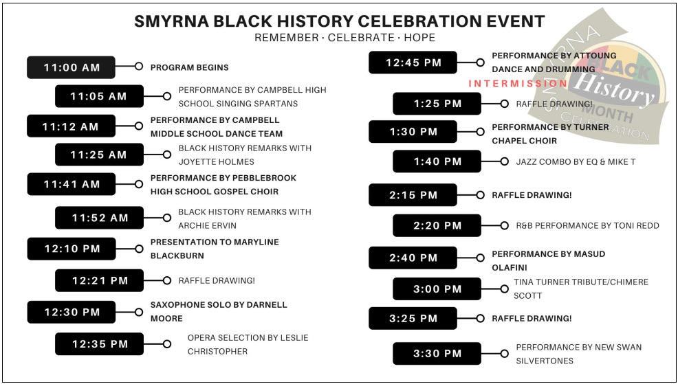 Black History Month Celebration Schedule for 2020
