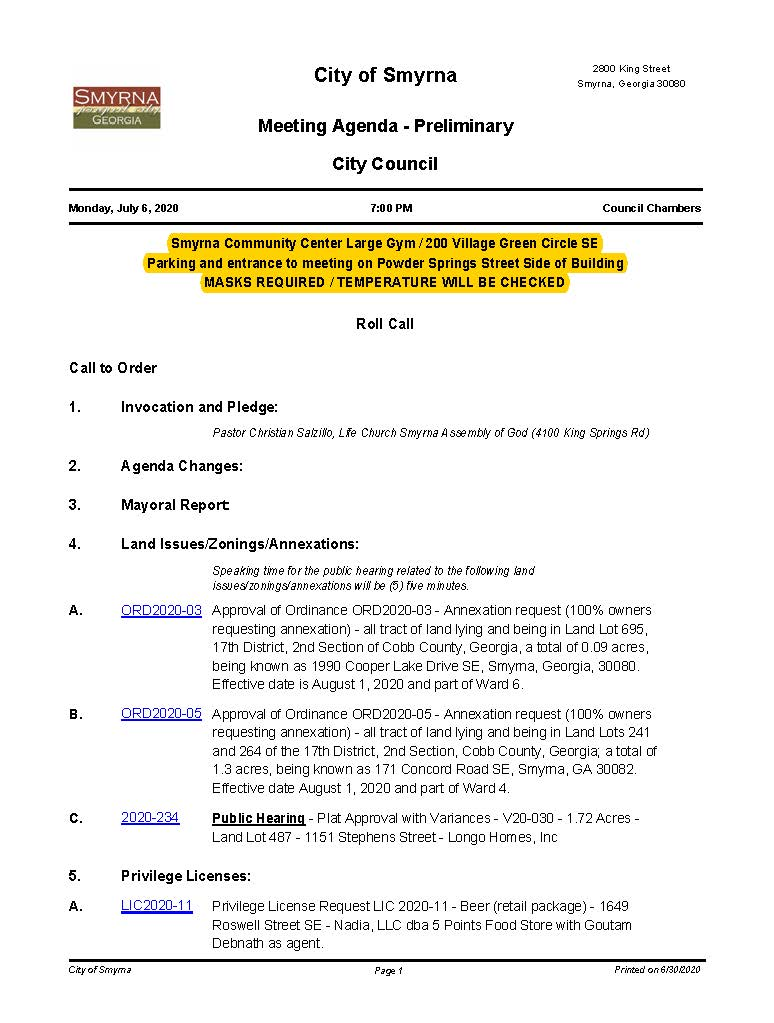 07.06.2020 July 6, 2020 M&C Preliminary Agenda NO attachments_Page_1